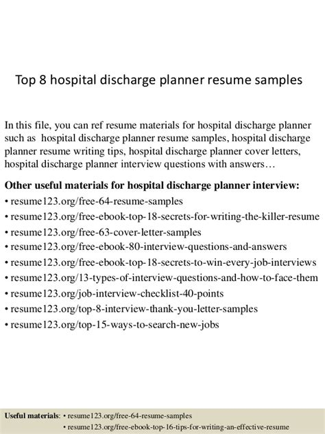 Discharge Cover Letter by Top 8 Hospital Discharge Planner Resume Sles