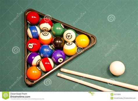 billiard balls on green pool table royalty free stock