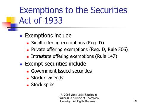 securities act section 5 ppt powerpoint slides to accompany the legal ethical