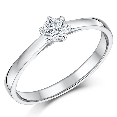 9ct white gold quarter carat solitaire six claw