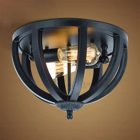 Simple 2 Light Black Wrought Iron Industrial Kitchen Lighting Black Iron Ceiling Lights