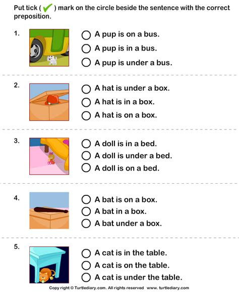 for the picture choose sentence with correct preposition - Cuarto In A Sentence