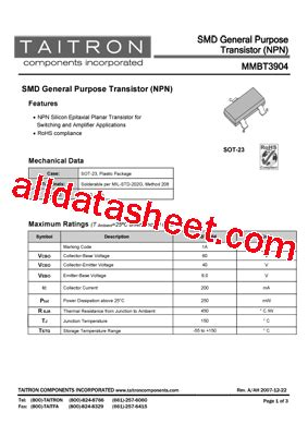 smd transistor l6 datasheet mmbt3904 datasheet pdf taitron components incorporated