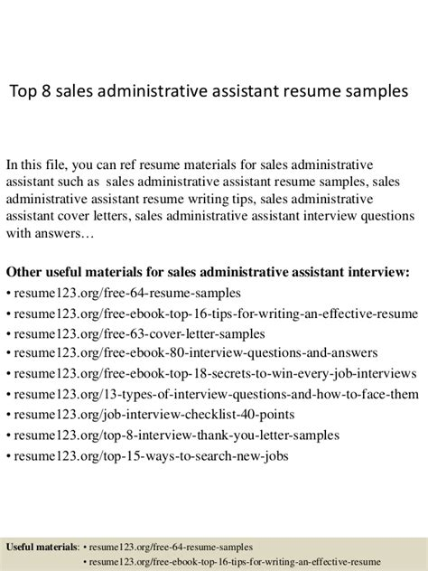 resume sles for administrative assistant top 8 sales administrative assistant resume sles