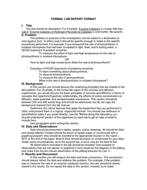 formal lab report exle 7 formal lab report template