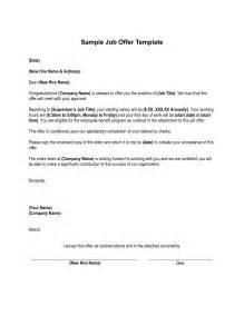 employment offer template letter sle offer letter from employer sle