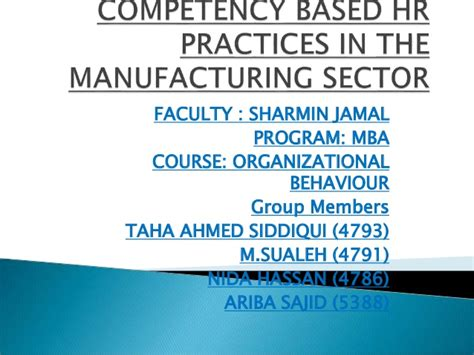 Competency Based Mba Program by Competency Based Hr Practices In The Manufacturing Sector