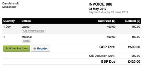 cis invoice template subcontractor 28 images subcontractor