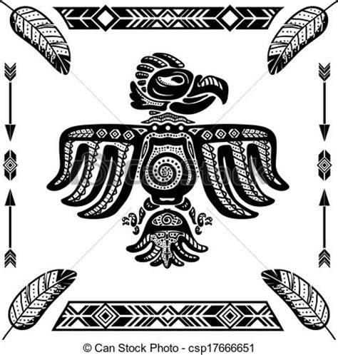 Aquila Tribal Set clipart vettoriali di aquila tribale indiano tatuaggio