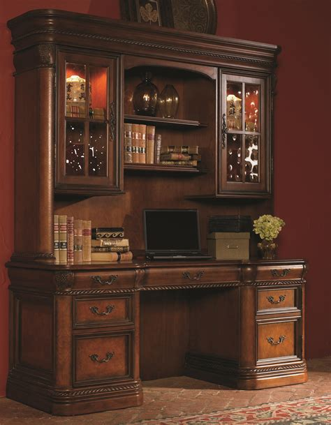 desk hutch lighting 72 inch kneehole computer credenza display hutch with