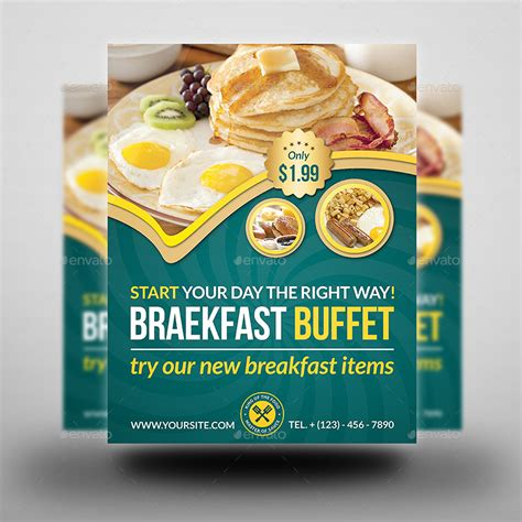 Breakfast Restaurant Flyer Template By Owpictures Graphicriver Breakfast Flyer Template