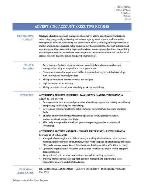 Account Executive Resume Samples advertising account executive resume tips templates and