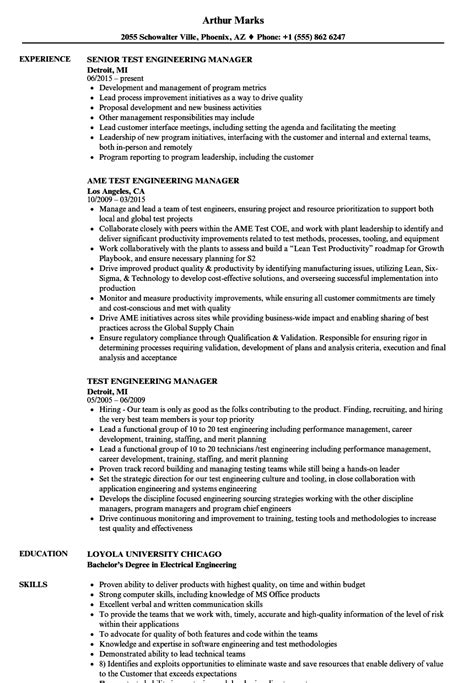 Test Engineering Manager Cover Letter by Test Engineering Manager Sle Resume Budget Specialist Sle Resume Materials Engineer Cover