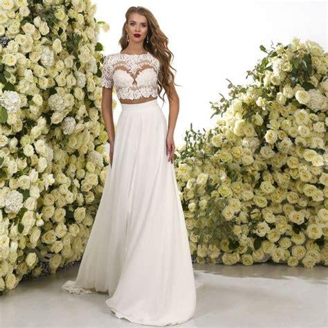 african short wedding dresses beach boho 2 piece wedding dress short sleeve a line