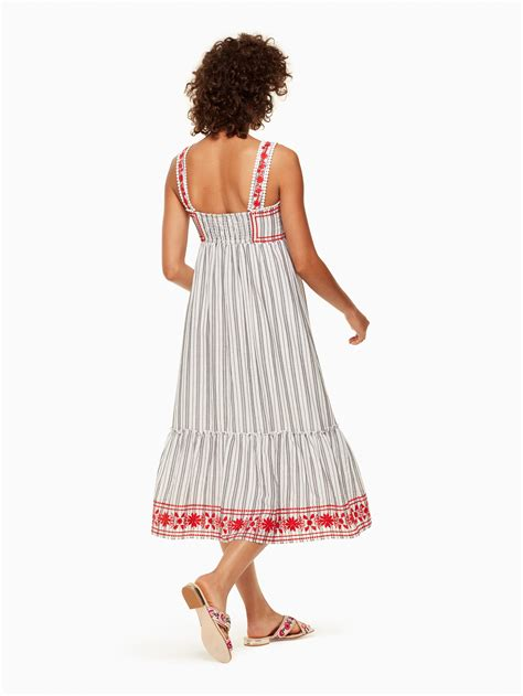 Striped Sleeveless Midi Dress kate spade stripe embroidered sleeveless midi dress fresh
