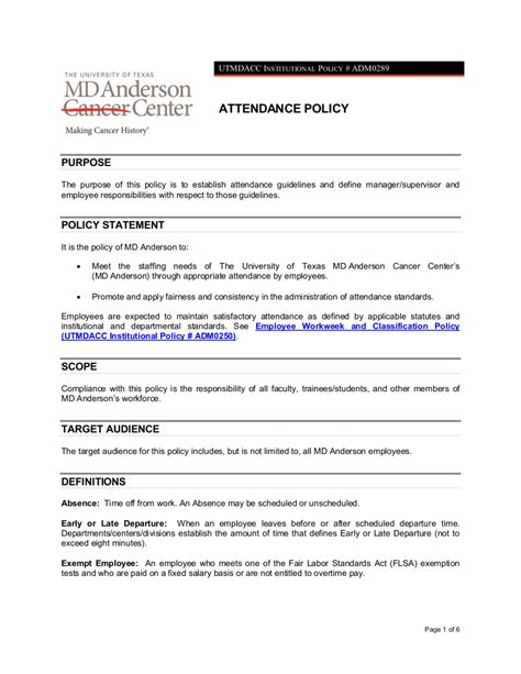13 Attendance Policy Exles Sles Attendance Policy Template