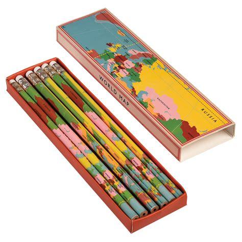 map pencils 6 x world map pencils in a box dotcomgiftshop