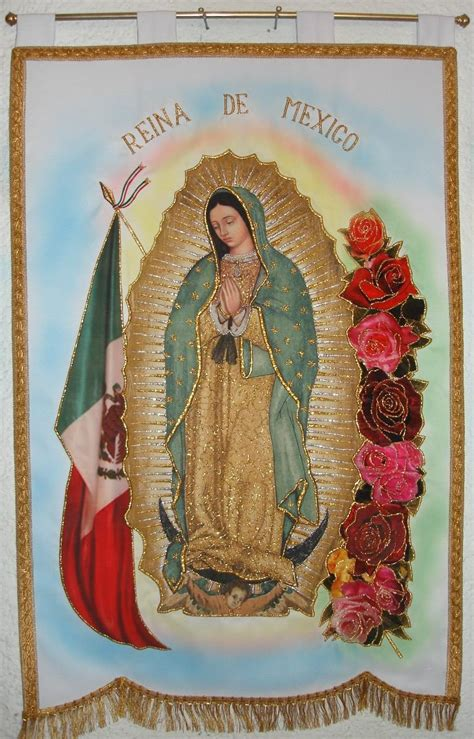 imagen virgen de guadalupe con rosas virgen de guadalupe con bandera y rosas estandarte