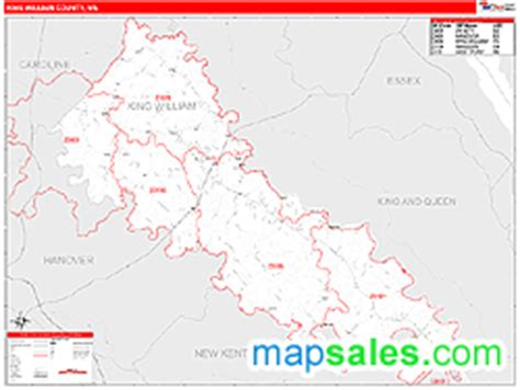 zip code map king county king william county va zip code wall map red line style