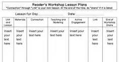 readers workshop lesson plan template calkins lesson plan template calkins units of