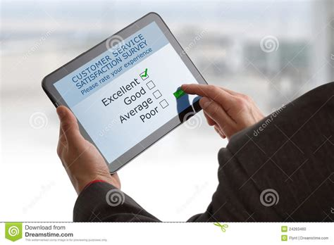 Online Customer Survey - online customer service satisfaction survey stock photo image 24263460