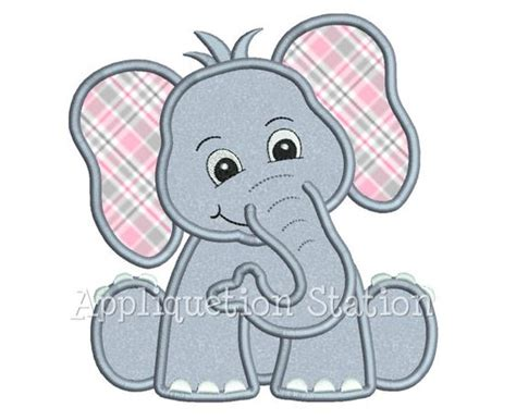 cute elephant pattern safari baby elephant applique machine by