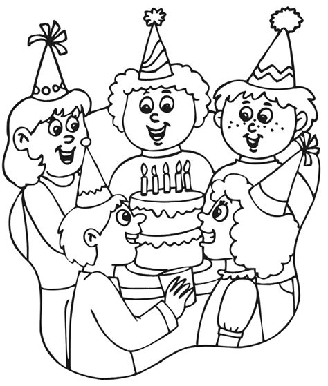 birthday coloring page party scene kid project