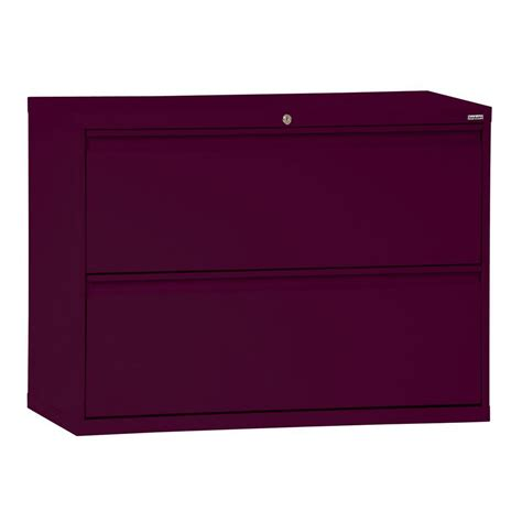Lateral 2 Drawer File Cabinet Sandusky 800 Series 36 In W 2 Drawer Pull Lateral File Cabinet In Burgundy Lf8f362 03