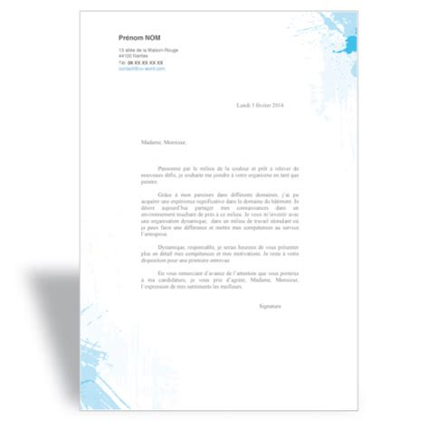 Exemple De Lettre De Motivation En Anglais Word Modele Lettre De Motivation Peintre En Batiment Document