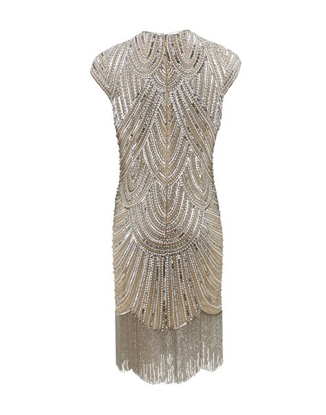 beaded deco dress naeem khan deco beaded fringe dress in metallic lyst