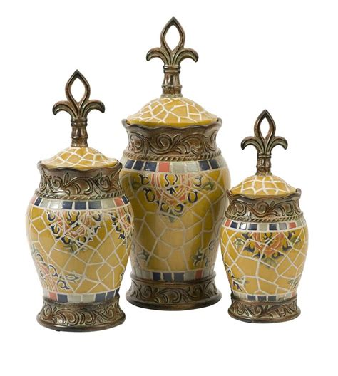 fleur de lis kitchen canisters set of three classy glass polystone fleur de lis decorative 17 best images about home decor canister sets jars sets