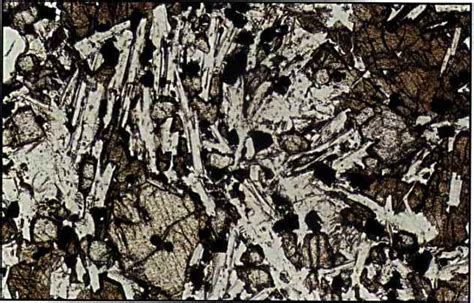 volcanic glass in thin section rocks under a microscope