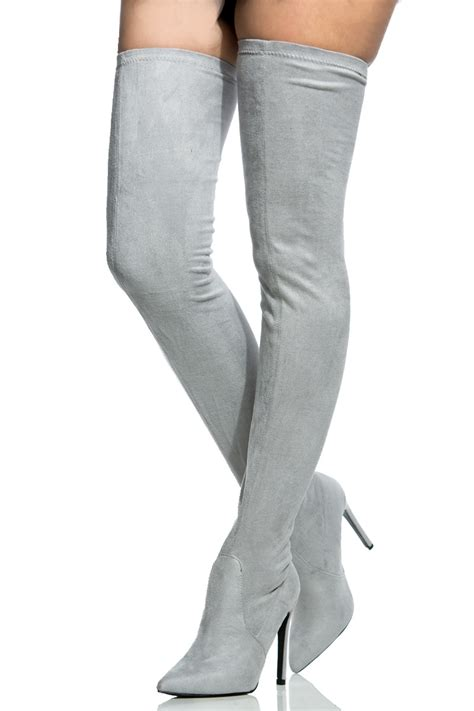 light grey womens dress shoes light grey faux suede thigh high pointed toe boots