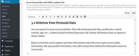 Right To Erasure Be Forgotten Wpforo Wordpress Forum Plugin Forum Privacy Policy Template