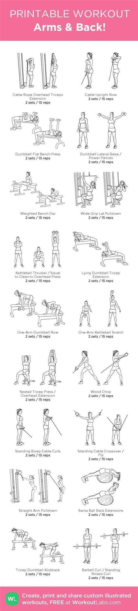 printable workout plan for the gym arms back my custom workout created at workoutlabs