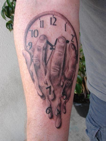 melting clock tattoo melting clock designs