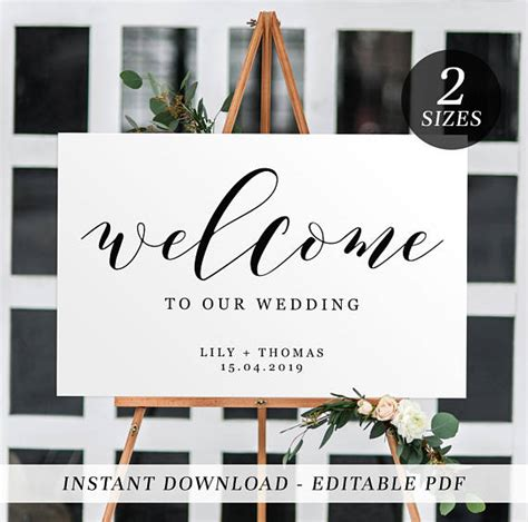 Printable Wedding Welcome Sign Editable Template Welcome Sign Black And White Calligraphy Welcome To Our Wedding Sign Template