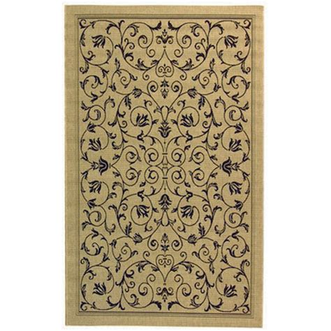 Shop Courtyard Terrace Scroll Sand Black Outdoor Rug 2ft Outdoor Carpet Rugs