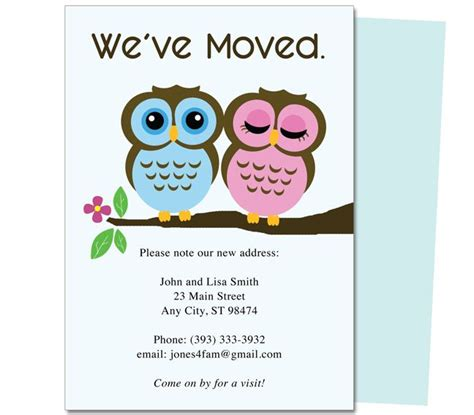 we moved cards templates moving announcements and new address moving postcards