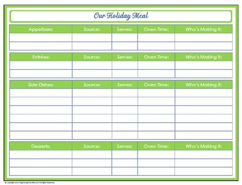 Printable Holiday Meal Planner | 31 days of home management binder printables day 30