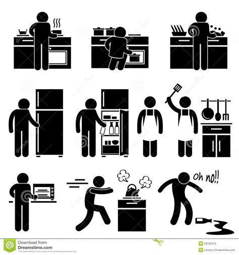 Kitchen Appliance Cabinet Man Cooking Washing At Kitchen Pictogram Stock Vector