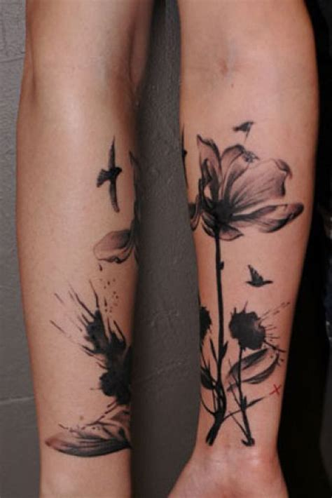 abstract flower tattoos 24 black and white poppy tattoos