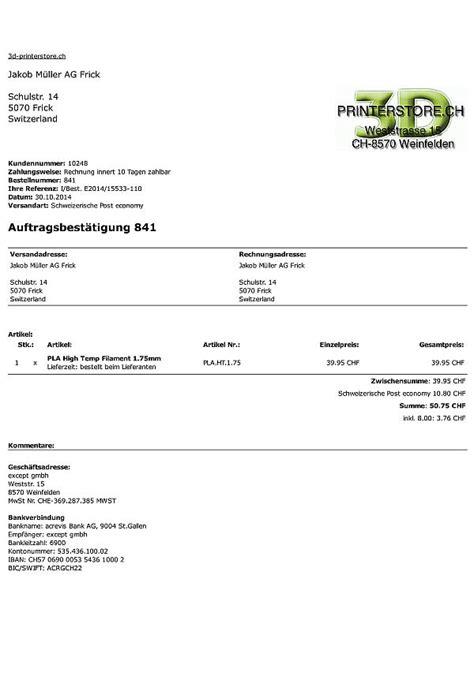 Rechnung Schweiz Mit Oder Ohne Mehrwertsteuer Zahlungsm 246 Glichkeiten Rechnung Vorauszahlung Paypal 3d Printerstore Ch