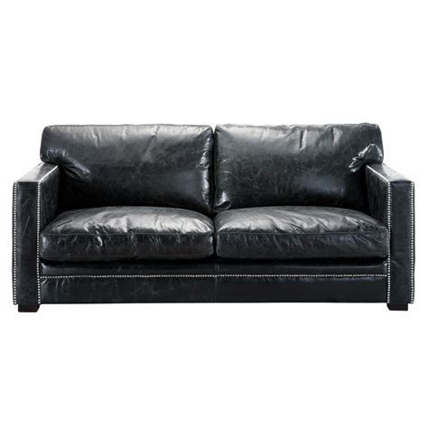 4 seater leather sofa 3 4 seater leather sofa in black dandy maisons du monde