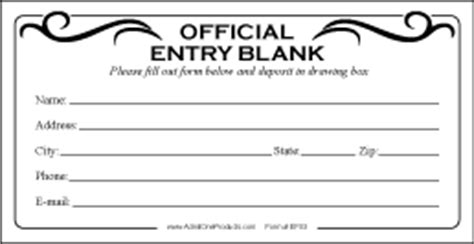2 8 Quot X 5 5 Quot Stock Official Entry Blank Forms From Admit One Products Event Ticket Printing Entry Ballot Template