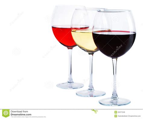white and red rose wine glass red white and rose wine royalty free stock image image