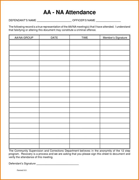 aa meeting attendance sheet template pictures to pin on