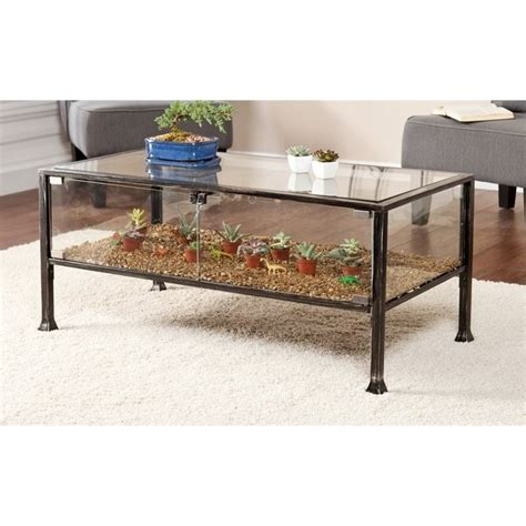 southern enterprises terrarium glass display coffee table