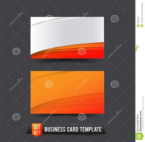 curved card template business card template set 017 orange curve stock vector