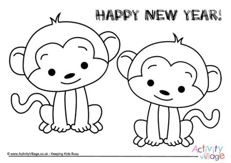 new year monkey coloring monkeys new year colouring page